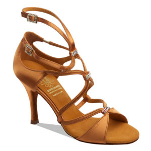 1062 by Supadance Latin satin strappy crystals dark tan satin stilleto heel