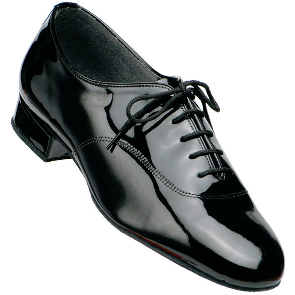 Men's Supadance Black Patent Leather Dance Shoe with standard heel