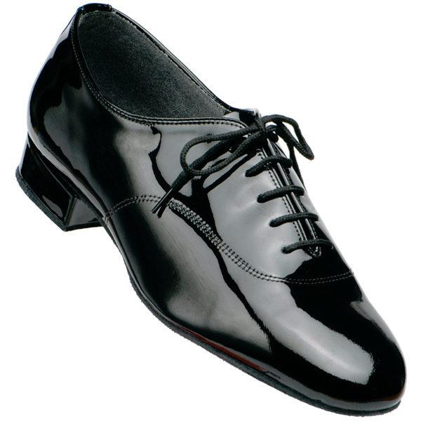 Men's Supadance Black Patent Leather Dance Shoe with standard heel