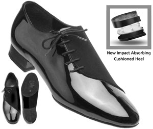 men's 6901 Supadance side lace in black patent nubuck split sole flexible impact absorbing cushion standard heel for ballroom