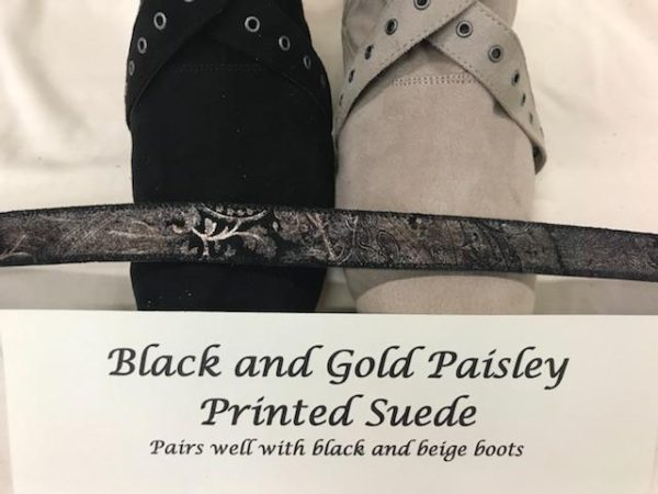 Black and Gold Paisley Printed Suede Boot Straps beige fabric