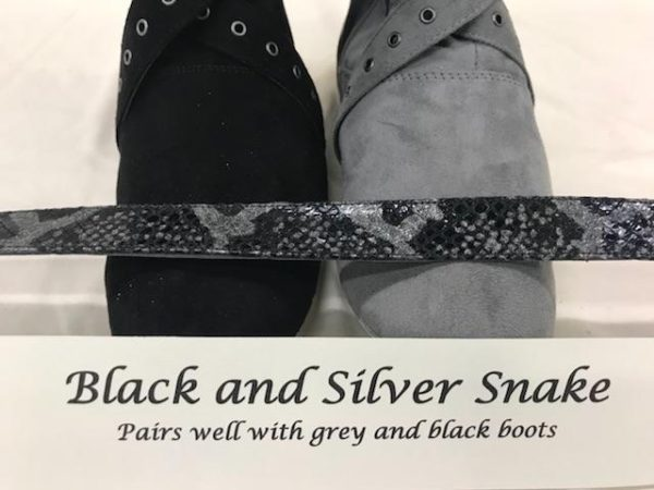 Black SIlver Reptile Snake fabric boot straps